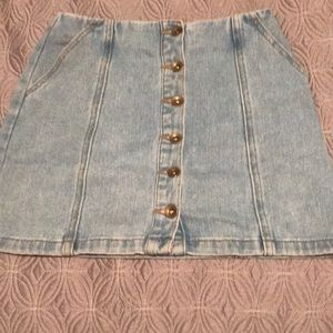 Denim button up skirt forever 21